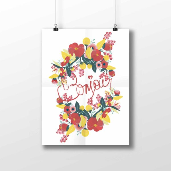 Affiche Bonjour collection Peony