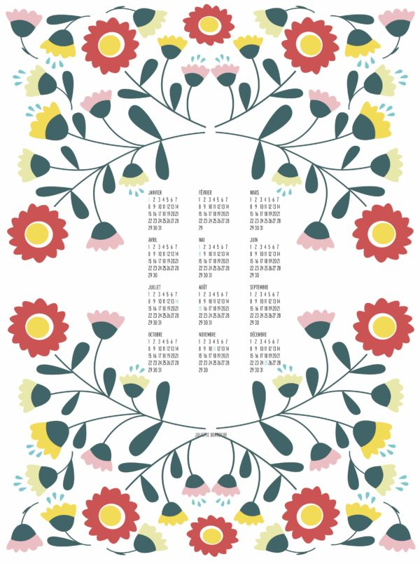 Affiche Calendrier collection Peony déco