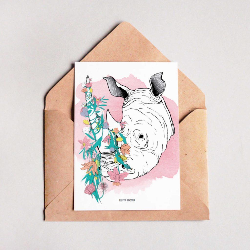 Carte Rhinocéros papeterie