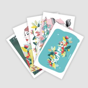 Lot cartes postales collection Peony